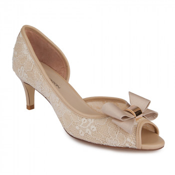 LACE PEEP TOE SIDE OPEN PUMPS W/ FEATURED BOW