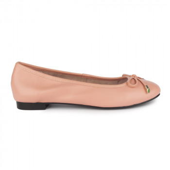 KID LEATHER SQUARE TOE BOW BALLERINAS