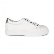 CALF LEATHER SNEAKER WITH FLORAL GROMMETS