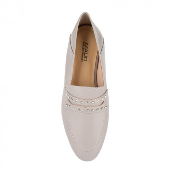 """JOSELLE"" HAIR SHEEP LOAFER WITH PYRAMID STUDS DETAIL STRAP"