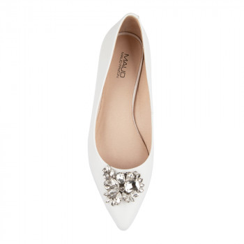 LEATHER FLAT WITH RHINESTONE