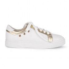 CALF AND METALLIC LEATHER SNEAKER