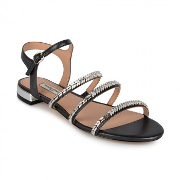 STONE EMBELLISHED LEATHER FLAT SANDAL