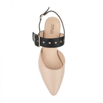 """SANA"" HAIR SHEEP WITH ANKLE STRAP AND METAL GROMMET PUMP"
