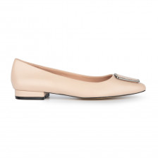 ABELLA STRASS PLATE LEATHER BALLET FLAT