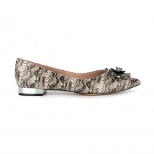 """AMELIE""  BEADED FLOWER EMBELLISHED POINT TOE LEATHER FLAT"