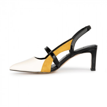 """CAROLE"" CONTRAST STRAPPY SLINGBACK POINT TOE PUMP"