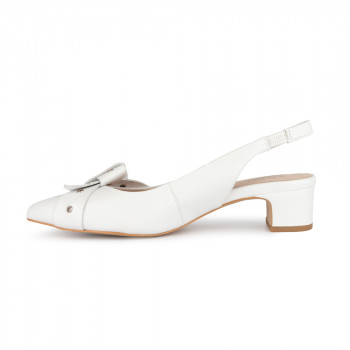 """CLODIE"" HAIR SHEEP SLING BACK PUMP WITH KNOTTED BOW AND METAL GROMMET"