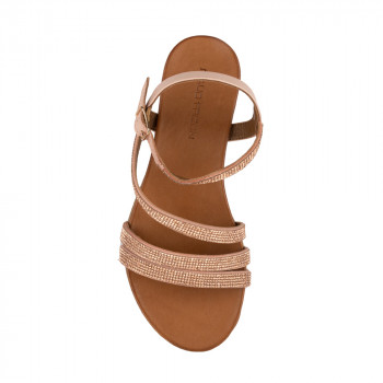 LEATHER BRAIDED UPPER SANDAL FLATS WITH ANKLE STRAP