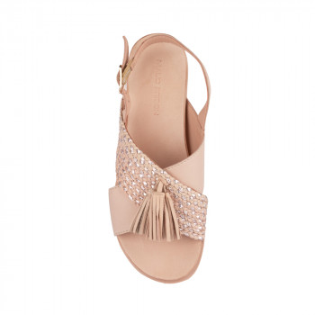 TASSEL LEATHER BRAIDED CROSS STRAP UPPER SANDAL FLATS