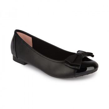 DOUBLE-BOW VEGAN LEATHER BALLERINAS