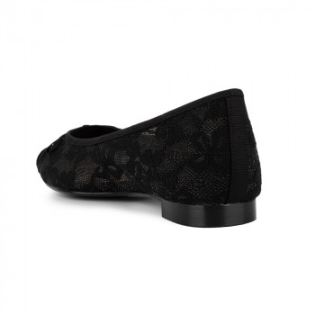 FLORAL LACE AND SUEDE BOW WITH GROSGRAIN BOW SQUARE TOE BALLERINA